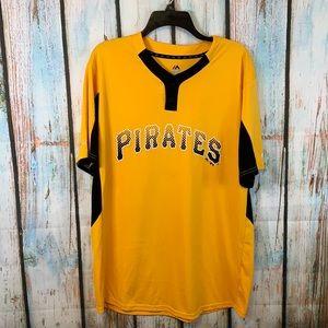 Pittsburgh Pirates Gold & Black Stretchy Short Sleeve Shirt Size L